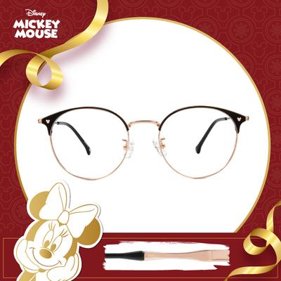 新年好運鼠不盡 l 米奇陪你看世界 圓型眉框眼鏡▶砂金黑