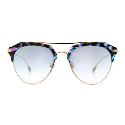HORIEN 潮流透色眉型飛官框墨鏡  ☀ 迷彩紫