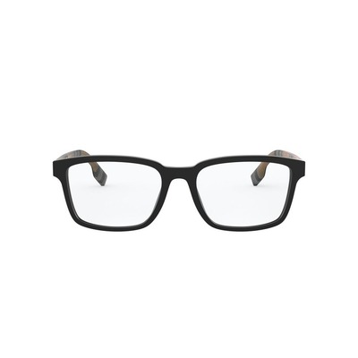 BURBERRY l 品牌簡約格紋長方框眼鏡 l 時代黑