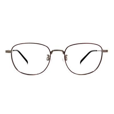 CHARMANT  學羽氣質多邊框眼鏡 ▏磚紅/銀