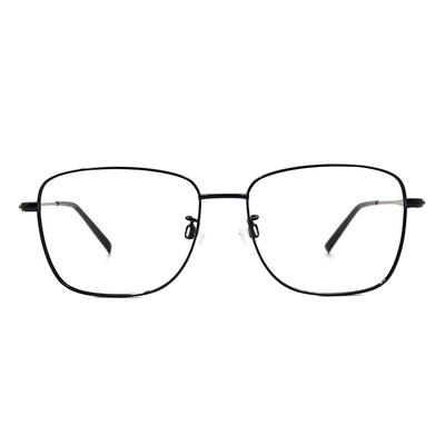 CHARMANT  雅緻紋雕大方框眼鏡 ▏藏青銀
