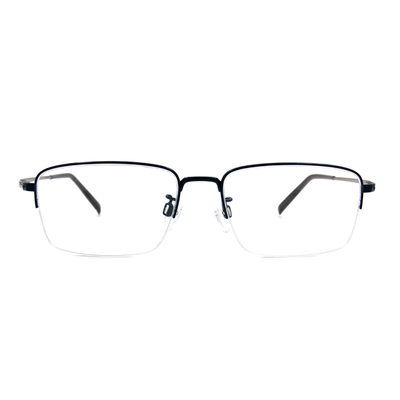 CHARMANT  透視曲線方型眉框眼鏡 ▏藏青/銀
