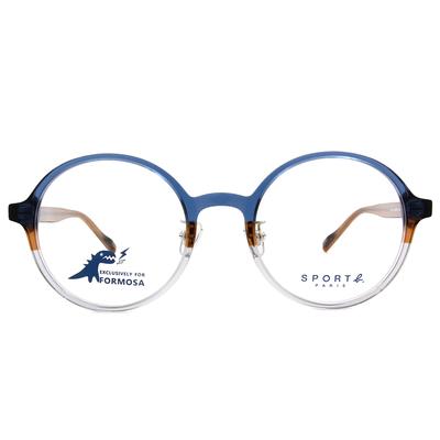SPORT b.│調色盤經典標誌圓框眼鏡★藍與棕