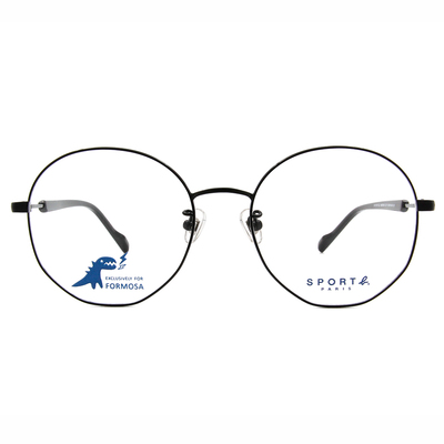 SPORT b.│極線設計百搭圓框眼鏡★動感眼鏡黑