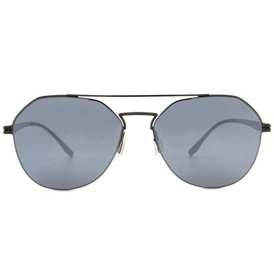 HORIEN 薄鋼雙桿多邊框墨鏡  ☀透視黑