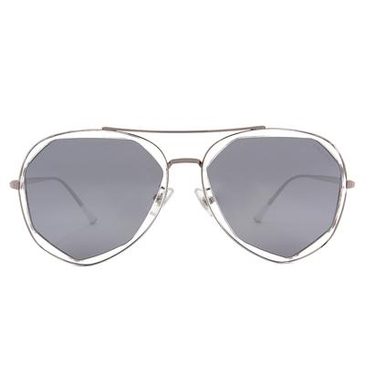 HORIEN 時光飛行多邊框墨鏡  ☀晶鑽銀