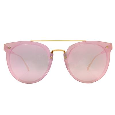 HORIEN 個性鉚釘鏡面圓框墨鏡  ☀香檳粉