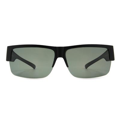 K-DESIGN 套鏡 l 領袖風眼鏡範眉框眼鏡墨鏡  霧黑/灰綠格紋