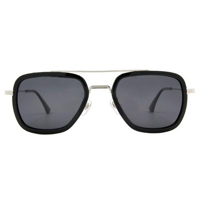 K-DESIGN 20▼雪銀細格套圈多邊框墨鏡  晶鑽黑