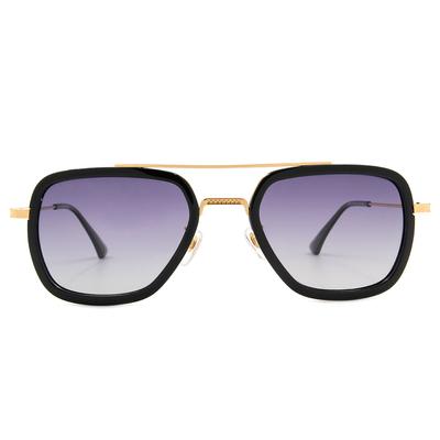 K-DESIGN 20▼金色年華雙桿多邊框墨鏡  璀璨黑