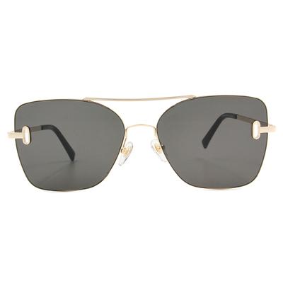 K-DESIGN 20▼邊際簍空雙桿多邊框墨鏡  尊貴黑