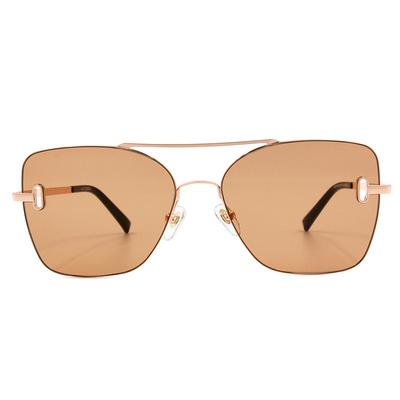 K-DESIGN 20▼邊際簍空雙桿多邊框墨鏡  暖洋金