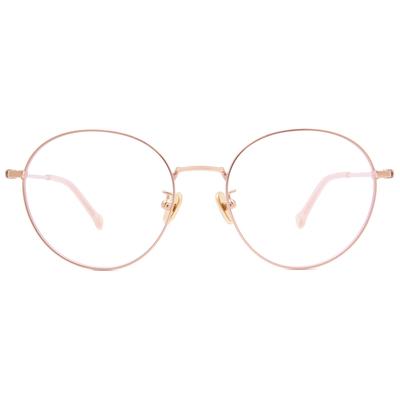 K-DESIGN KREATE 青春圓舞曲拼色圓框眼鏡🎨 金/溫柔粉