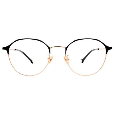 K-DESIGN KREATE 經典復古眉架圓框眼鏡🎨 潮金黑