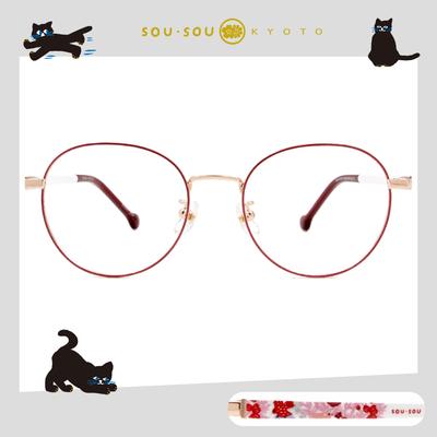 SOU・SOU l 花鳥叢林 圓框眼鏡✿玫紅色