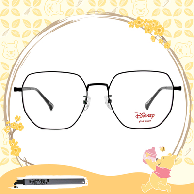 Disney-粉萌季 l 奇奇蒂蒂心花開 多邊框眼鏡 質感黑