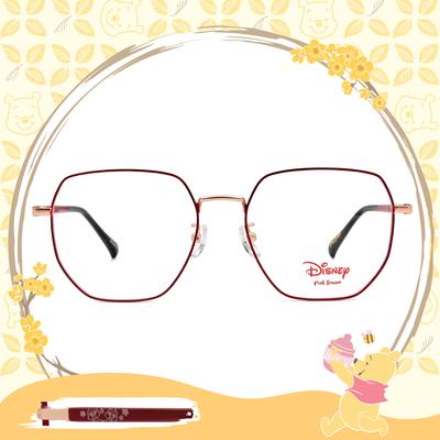 Disney-粉萌季 l 奇奇蒂蒂心花開 多邊框眼鏡 質感紅