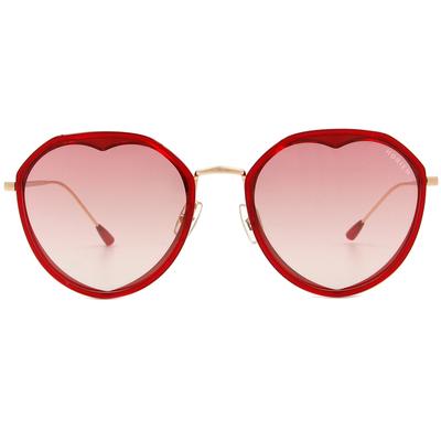 HORIEN 俏皮愛心多邊框墨鏡 櫻桃紅