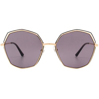 HORIEN 時尚雙線圈多邊框墨鏡 神秘紫
