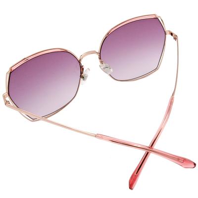 HORIEN 馬甲眉型款墨鏡 透粉紫