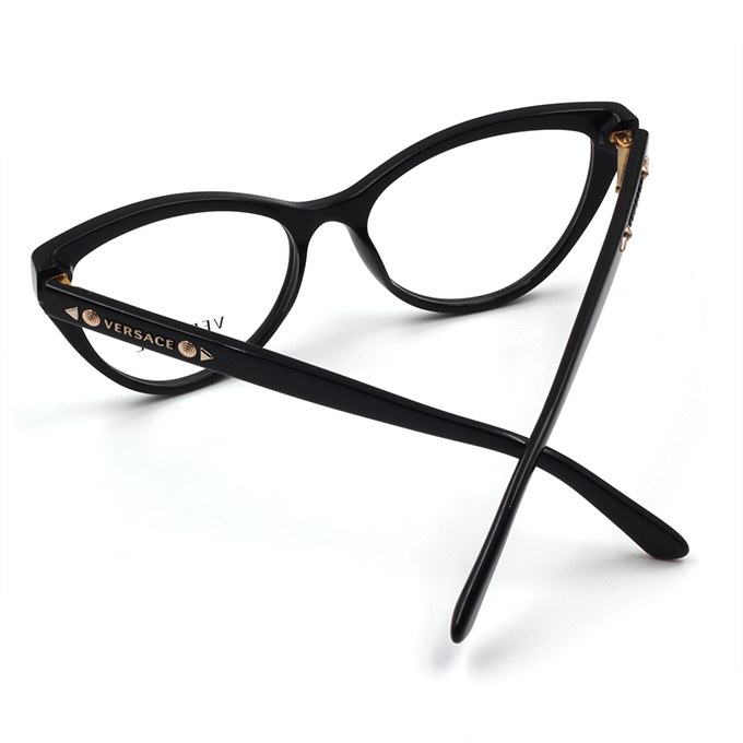 VERSACE 時尚混搭魅力舞現 現代摩登款眼鏡 鉚釘黑 (VE3191-GB1-54)