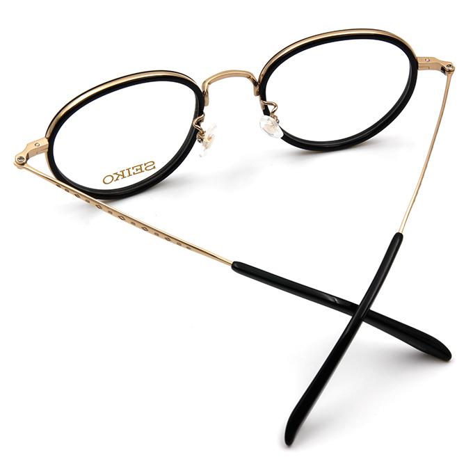 SEIKO 知性の鈦 小菱點刻印復古圓框眼鏡 ▏金黑