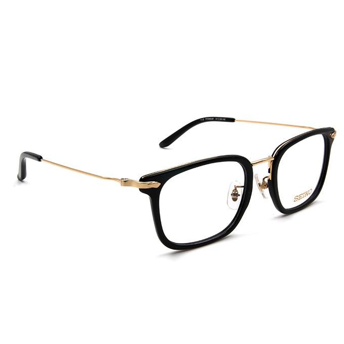 SEIKO 知性の鈦 金屬菱鑽款眼鏡復古方框眼鏡 ▏金黑