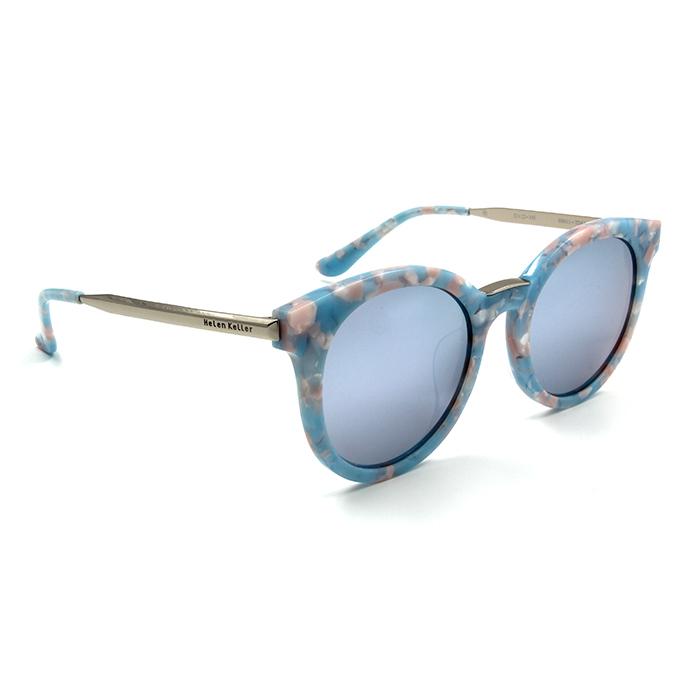 Helen Keller 夏日和風粉嫩寬版貓眼框墨鏡  碎花藍