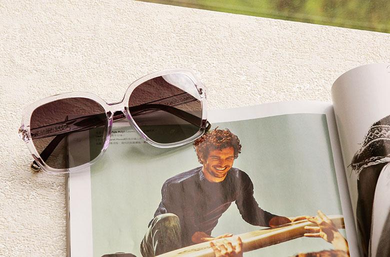 Helen Keller 香榭巴黎晶瑩方框墨鏡  紫透白