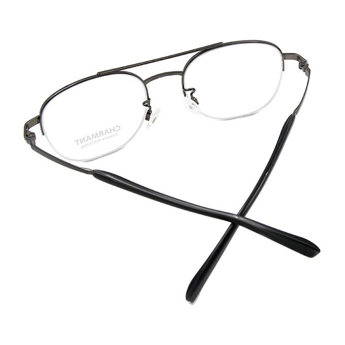 CHARMANT β-鈦 文青雙桿金屬鏡框✦鐵灰