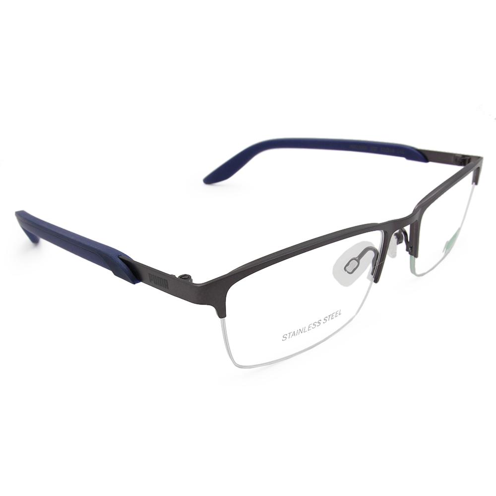 PUMA l 熱情學院 長方半框眼鏡 l 鋼質灰