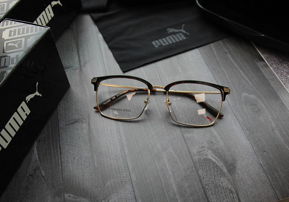 PUMA l 城市雅痞 方型眉框眼鏡 l 玳瑁/金